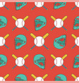 baseball seamless pattern catcher helmet bat vector image vector image