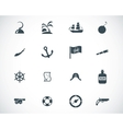 black pirates icons set vector image vector image