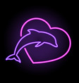 bright neon dolphin and heart vector image