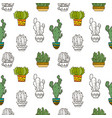 cacti beautiful seamless pattern vector image