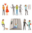 characters in different scenes panic fear and vector image