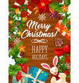 christmas wreath banner on wooden background vector image vector image