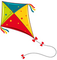 Colorful kite on white background vector image vector image