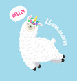 cute cartoon lama doodle vector image vector image