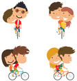 cute couple on bikes vector image vector image