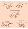 Dinosaurs with names Pencil sketch by hand vector image