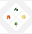 flat icon bio set of lunar tree canadian and vector image vector image