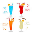 for set alcohol cocktails blue vector image