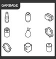 garbage outline isometric icons vector image vector image