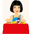girl at the table vector image