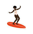 girl surfer in swimsuit riding surfboard catching vector image vector image