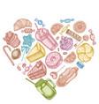 heart design with pastel cinnamon macaron vector image