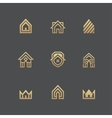 Houses logo set on black background vector image vector image