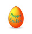 lettering happy easter on orange egg with shadow vector image