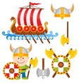 Little Viking Cartoon Icon Set vector image vector image