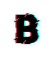 logo letter b glitch distortion diagonal vector image