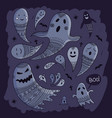 lovely halloween concept childish set with ghosts vector image vector image