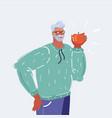man eat apple vector image