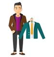 Man holding jacket vector image vector image