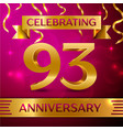 ninety three years anniversary celebration design vector image vector image