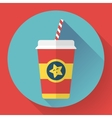 Paper coffee cup with straw Hot outdoor drink vector image vector image