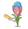 playing baseball crocus flower character cartoon vector image