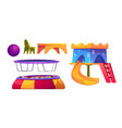playroom in kindergarten with slide and trampoline vector image vector image