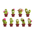 potted cactus characters sett funny cacti in vector image
