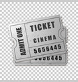 Realistic two silver cinema tickets isolated