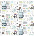 seamless pattern office supplies flat colored vector image vector image
