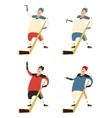 set hockey players vector image
