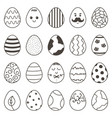 set of cute monochrome doodle easter easter vector image vector image
