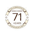 seventy one years anniversary celebration logo vector image vector image