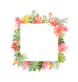 tropical flower and flamingo bird hand drawn frame vector image