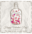 valentine card with jar filled with hearts and wis vector image