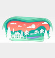 village - modern paper cut vector image