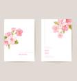 wedding invitation cherry sakura blossom flowers vector image