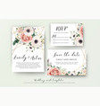 wedding invite rsvp save the date carad design vector image vector image