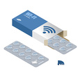 Wi-Fi pills in pack Tablets in box Natural vector image vector image