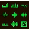 music soundwave icon set on black vector image