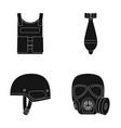 bullet-proof vest mine helmet gas mask vector image