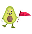 avocado holding flag on white background vector image