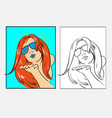 beautiful fancy girl with red hair and sunglasses vector image