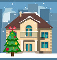 beautiful snowy christmas home and tree vector image vector image