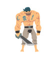 brave muscular pirate with saber male buccaneer vector image vector image