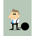 Cartoon businessman locked in a debt ball vector image vector image