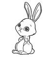 cartoon cute rabbit coloring page vector image vector image