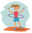 character girl doing hula hoops play vector image
