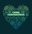 china coronavirus heart outline green vector image vector image
