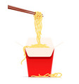 chinese noodles at chopsticks vector image vector image